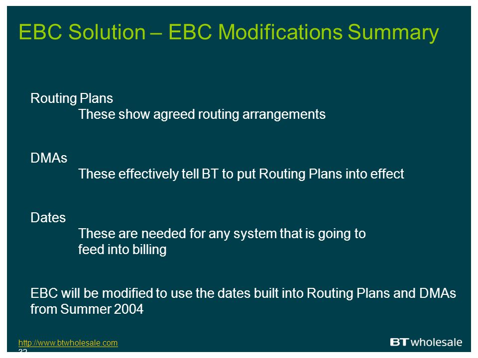 EBC Solution – EBC Modifications Summary