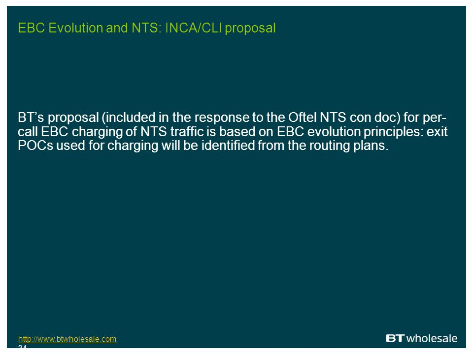 EBC Evolution and NTS: INCA/CLI proposal