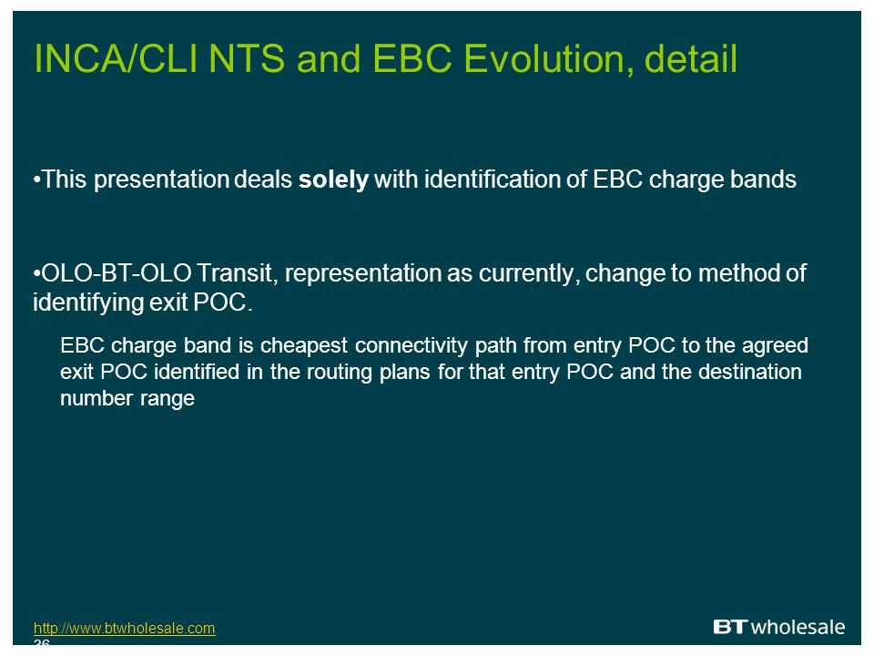INCA/CLI NTS and EBC Evolution, detail