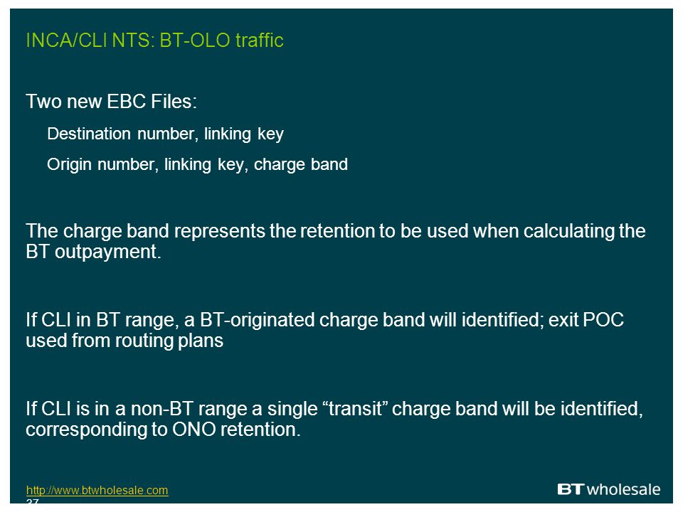 INCA/CLI NTS: BT-OLO traffic