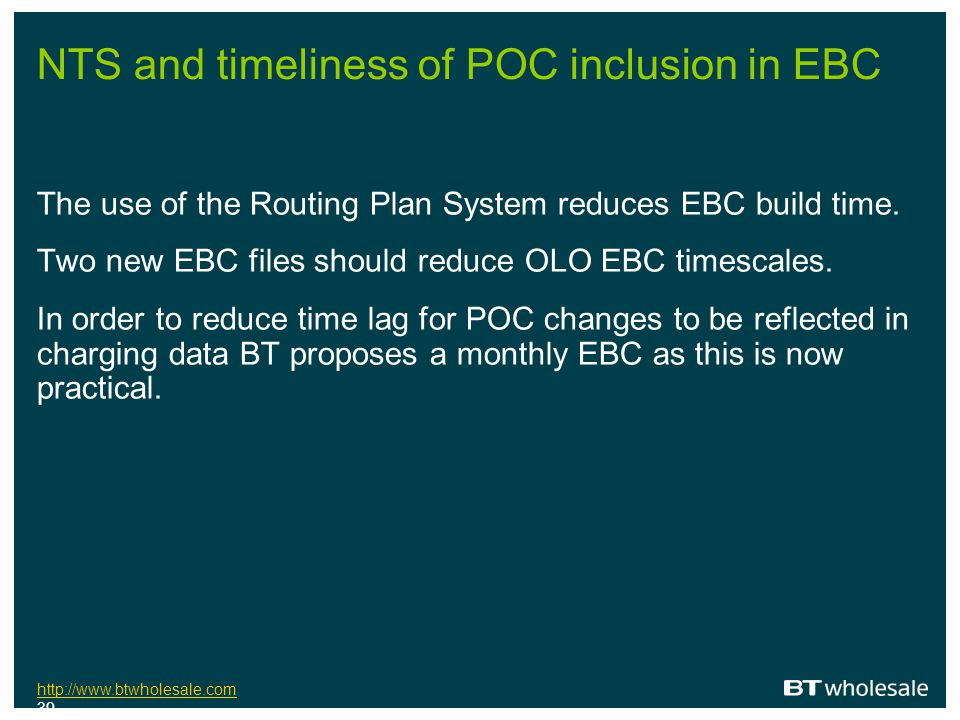NTS and timeliness of POC inclusion in EBC