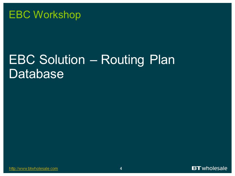 EBC Solution – Routing Plan Database