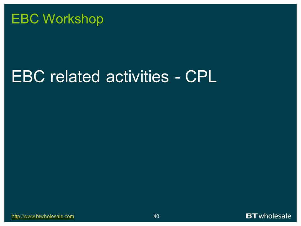 EBC related activities - CPL