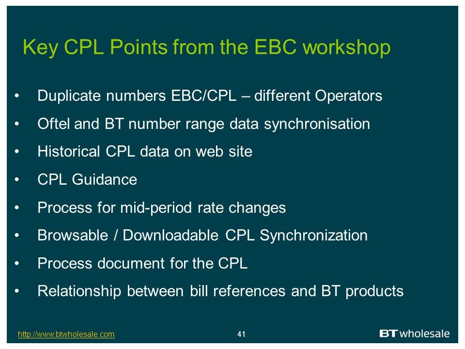Key CPL Points from the EBC workshop