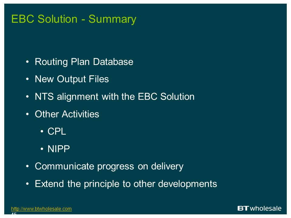 EBC Solution - Summary Routing Plan Database New Output Files