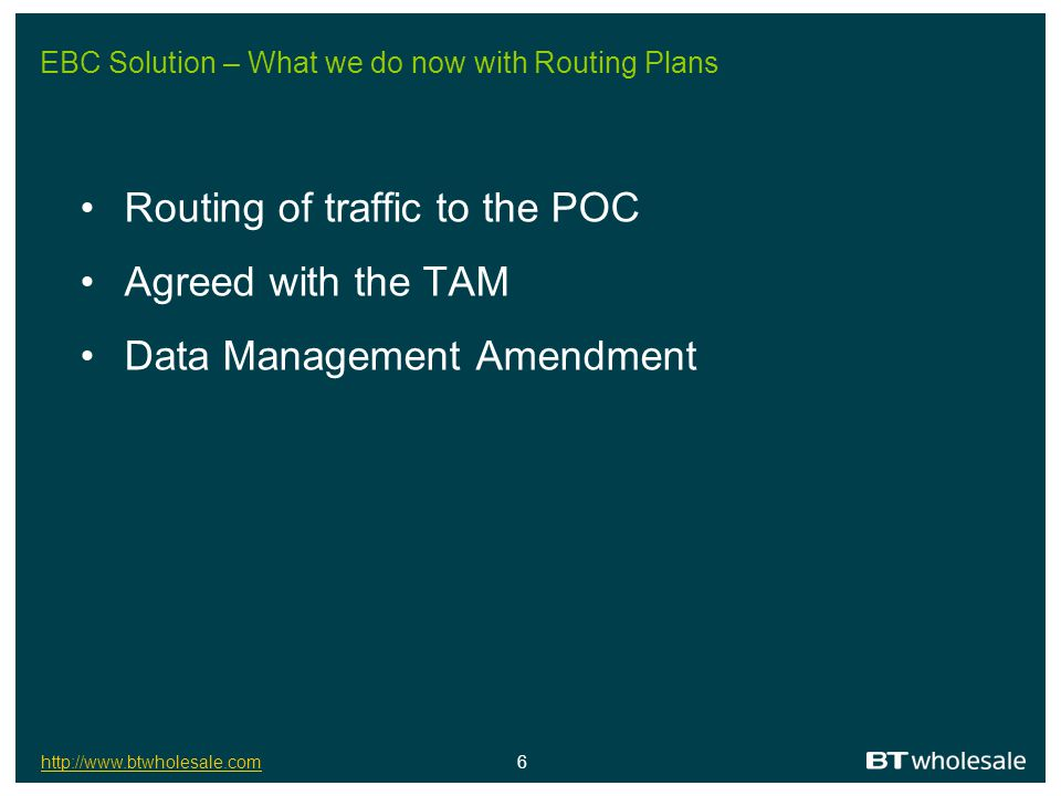 EBC Solution – What we do now with Routing Plans