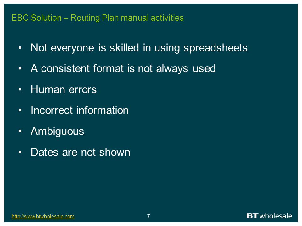 EBC Solution – Routing Plan manual activities