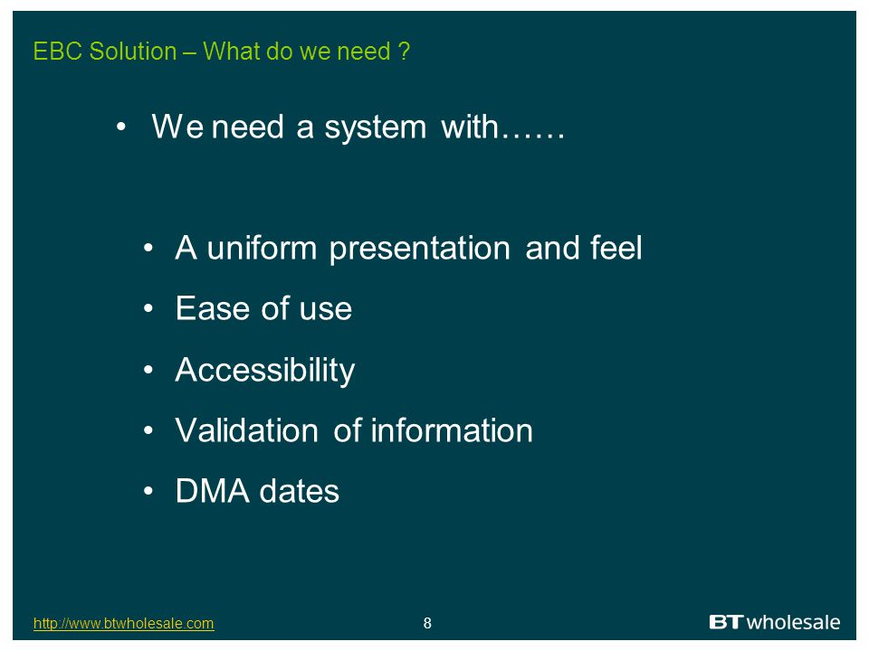 EBC Solution – What do we need