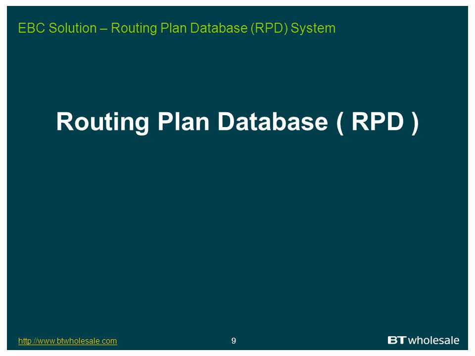 EBC Solution – Routing Plan Database (RPD) System