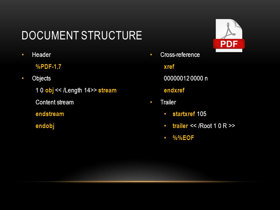 Document Structure Header %PDF-1.7 Objects