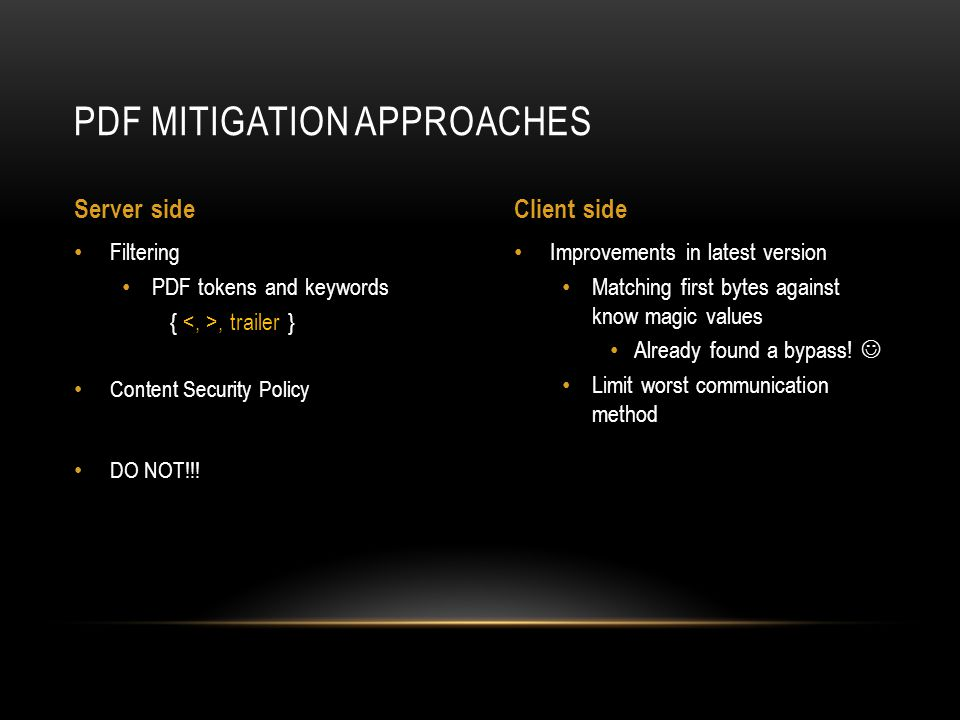PDF mitigation approaches
