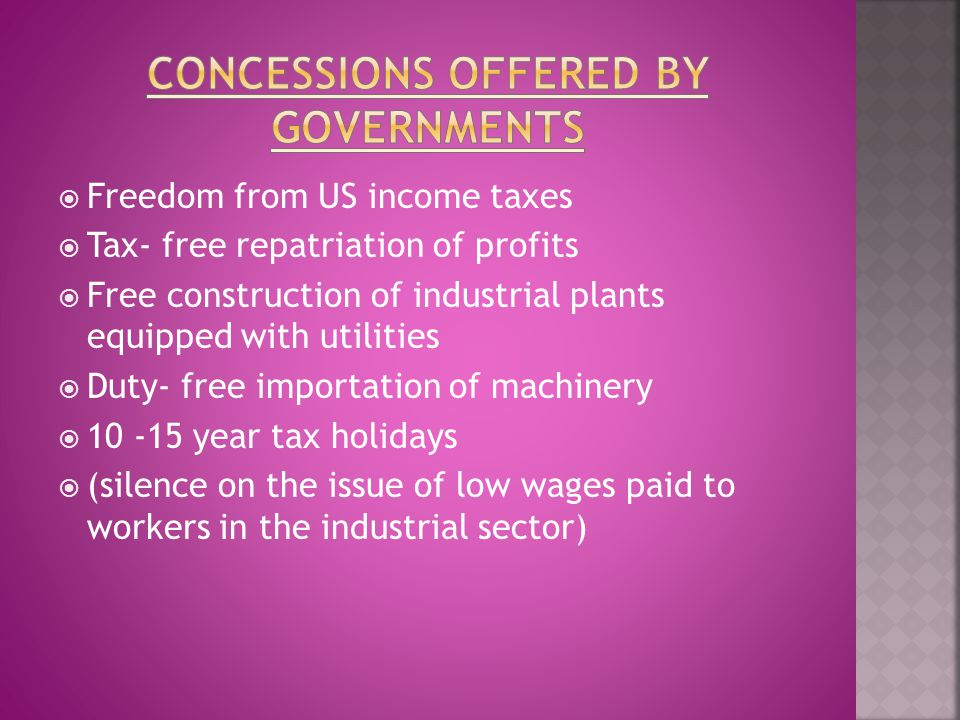 Concessions offered by Governments
