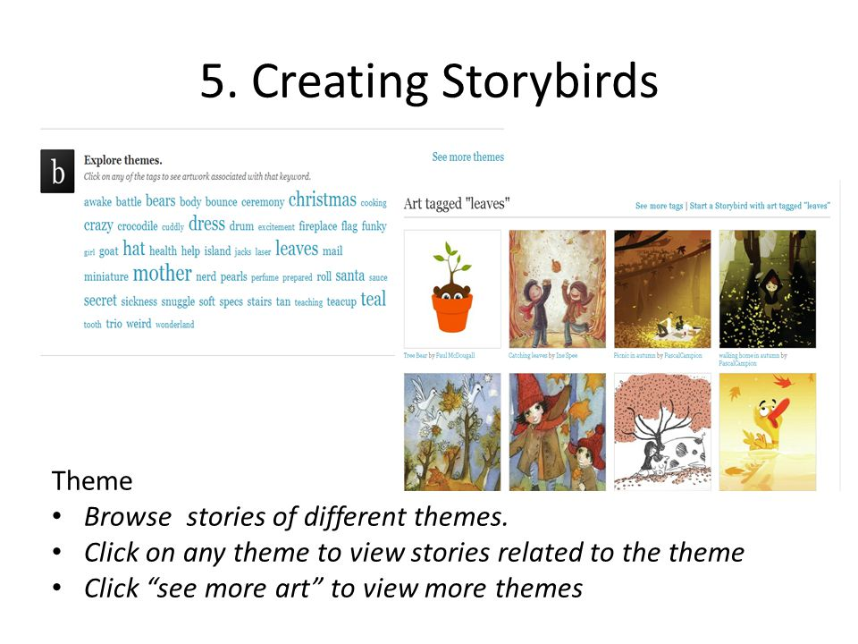 5. Creating Storybirds Theme Browse stories of different themes.