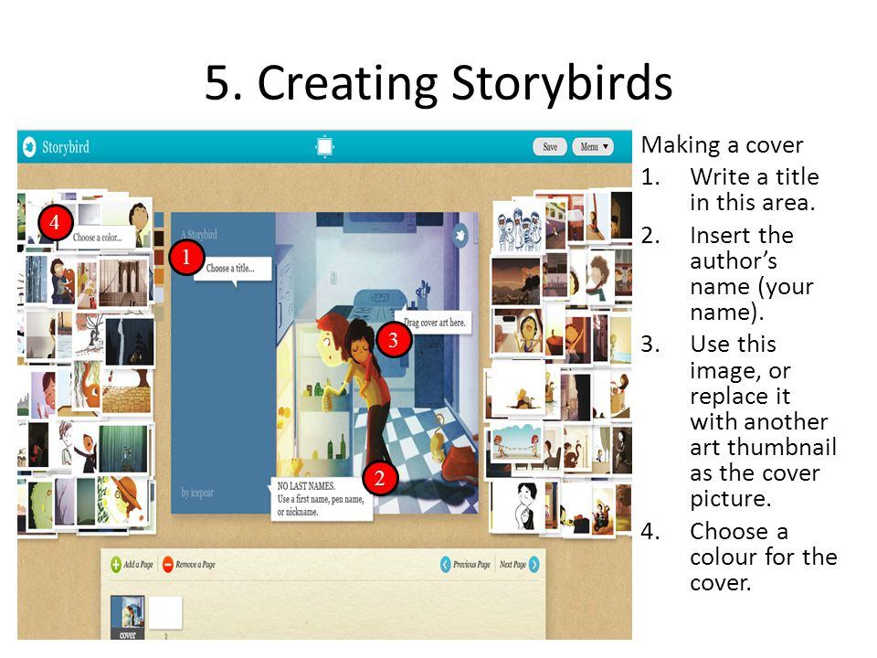 5. Creating Storybirds Making a cover Write a title in this area.