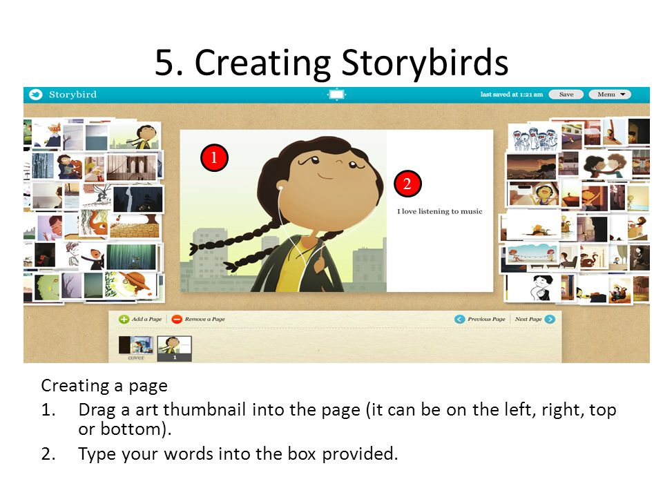5. Creating Storybirds Creating a page