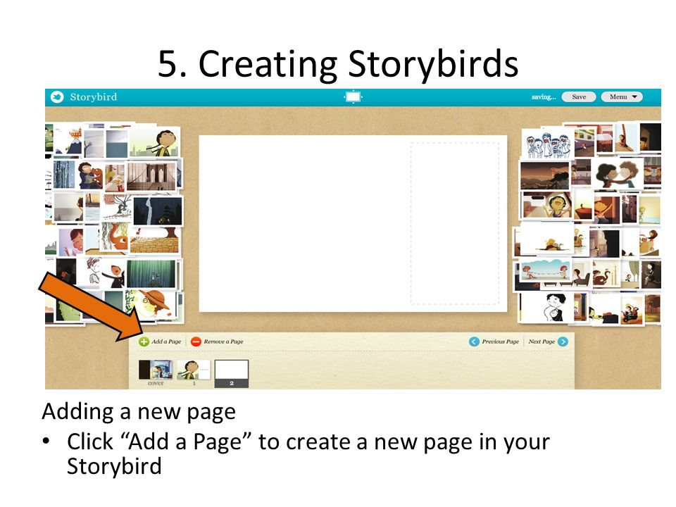 5. Creating Storybirds Adding a new page