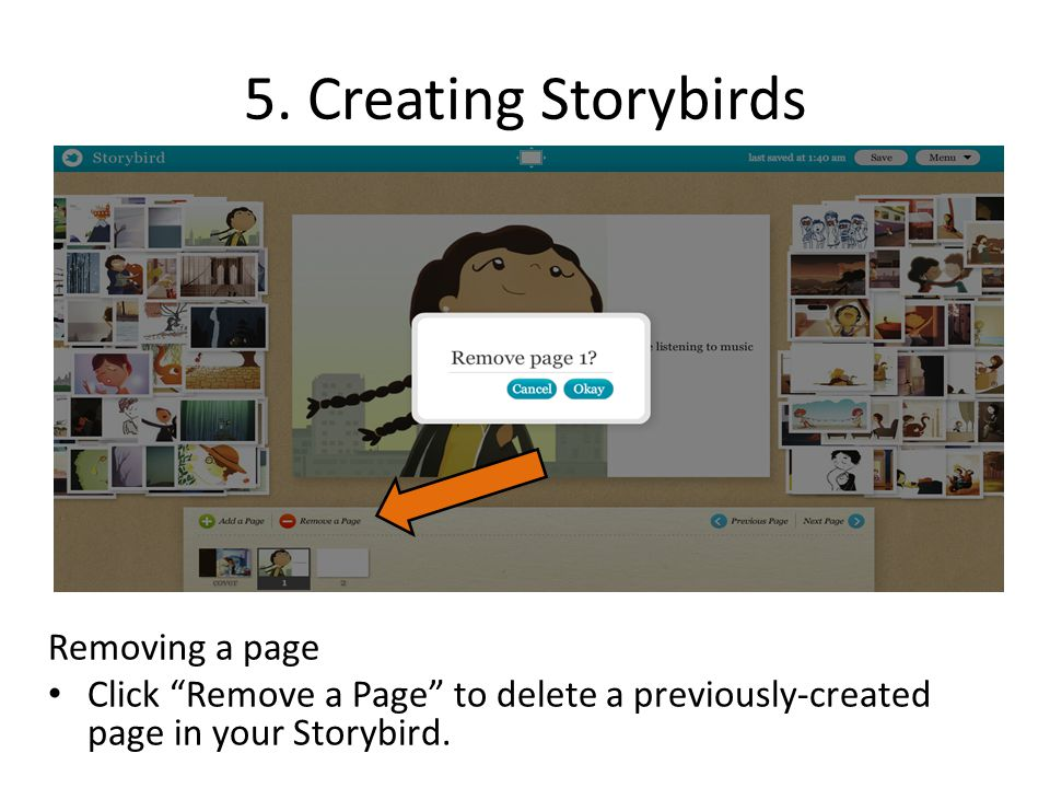 5. Creating Storybirds Removing a page