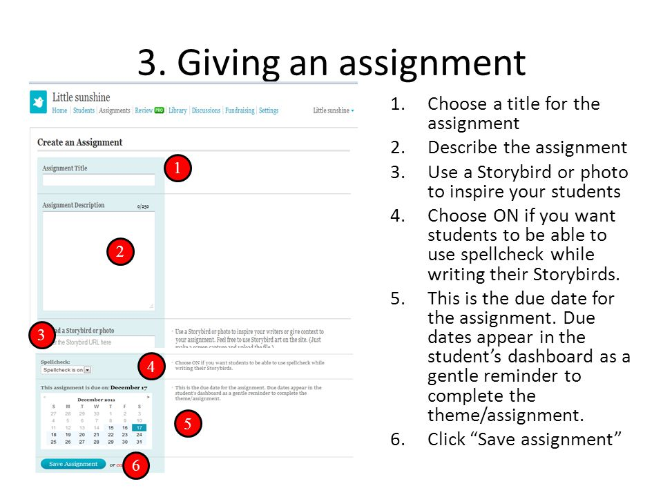 3. Giving an assignment Choose a title for the assignment
