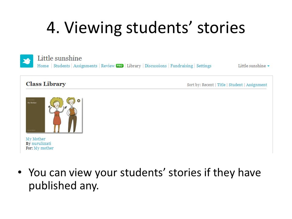 4. Viewing students' stories