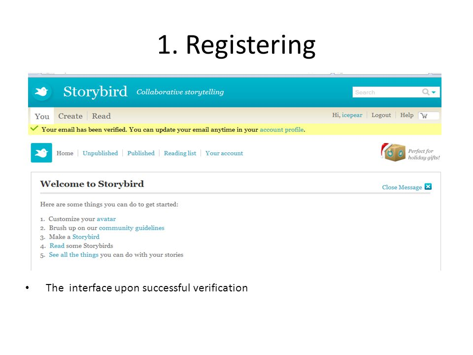 1. Registering The interface upon successful verification