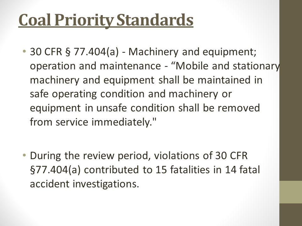 Coal Priority Standards