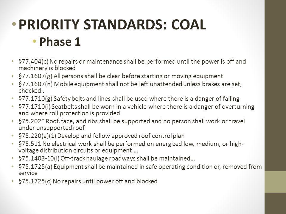 PRIORITY STANDARDS: COAL