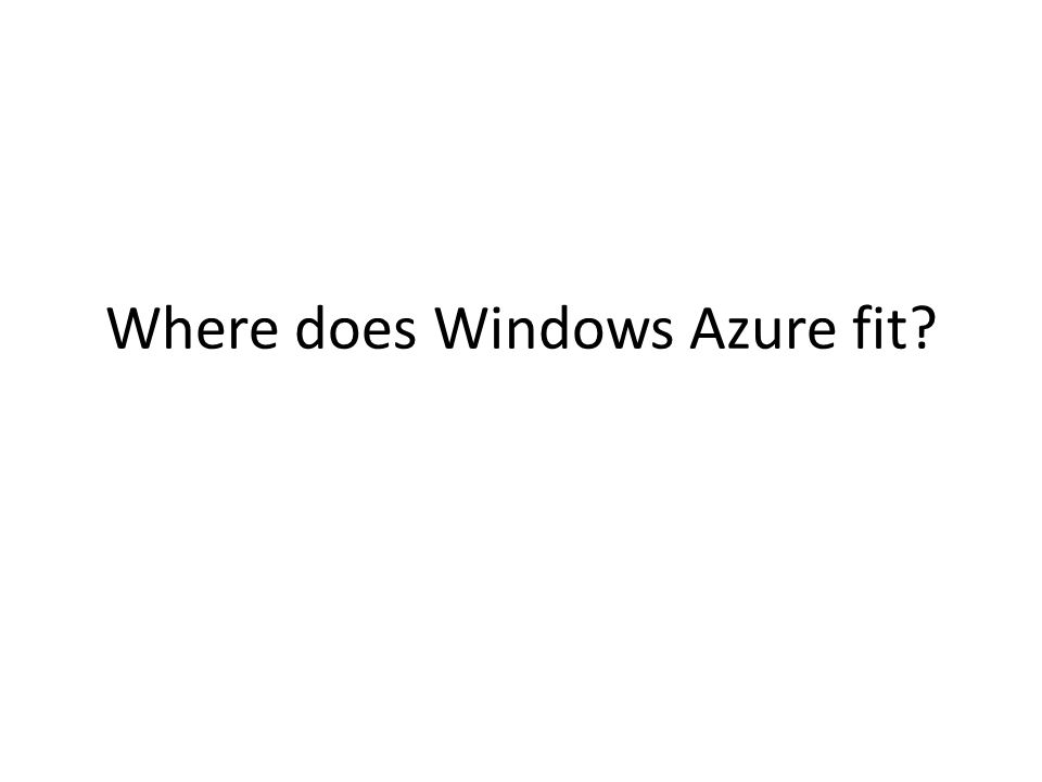 Where does Windows Azure fit