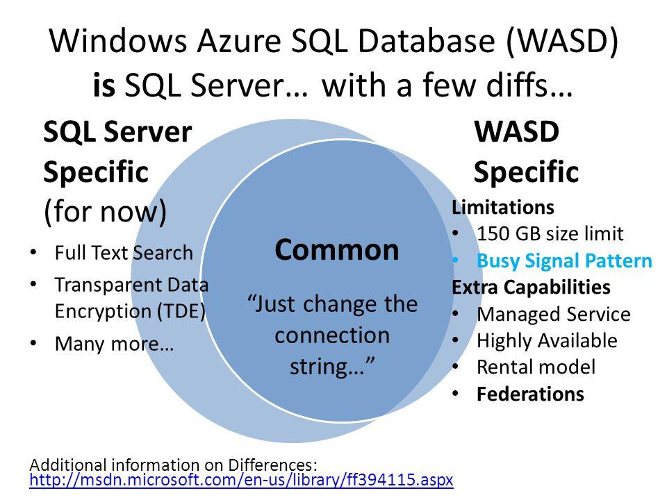 Windows Azure SQL Database (WASD) is SQL Server… with a few diffs…