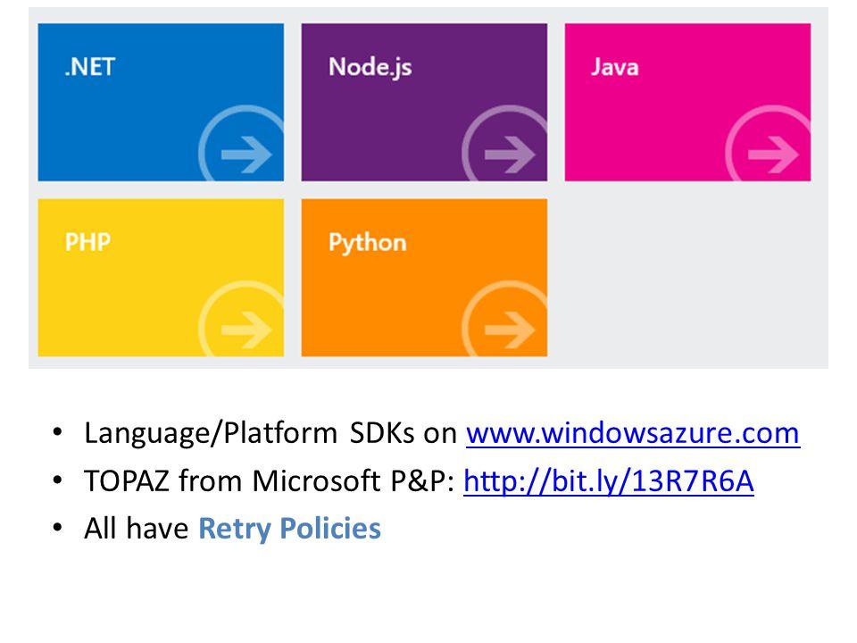 Language/Platform SDKs on www.windowsazure.com