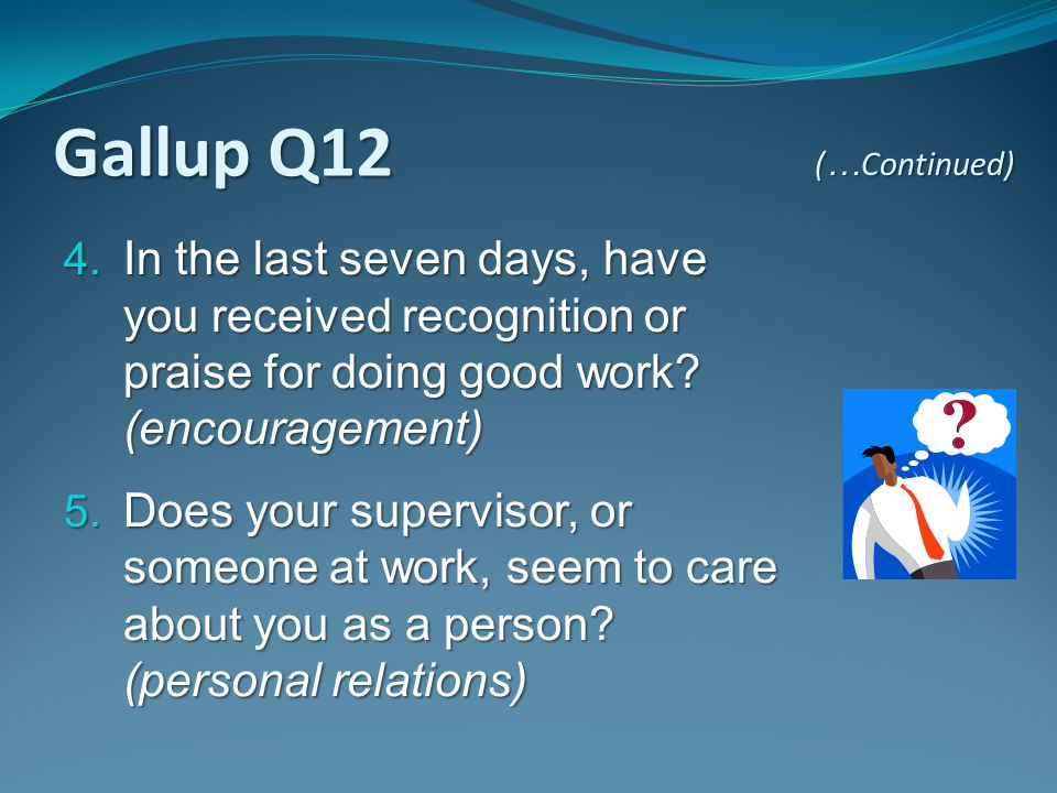 Gallup Q12 (…Continued) In the last seven days, have you received recognition or praise for doing good work (encouragement)