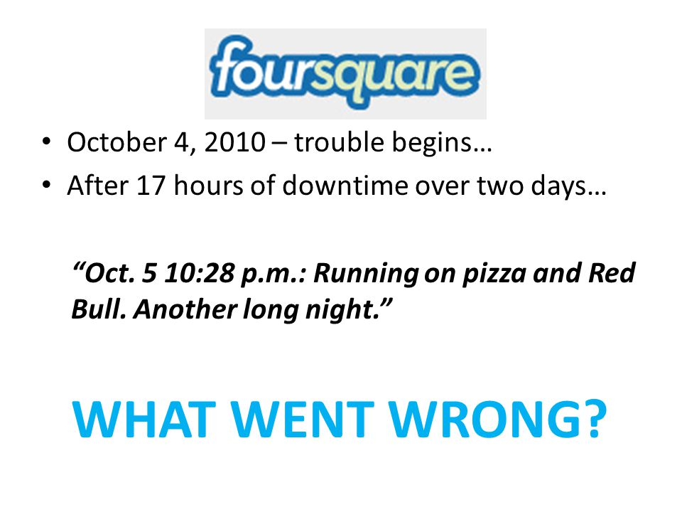 WHAT WENT WRONG Foursquare #Fail October 4, 2010 – trouble begins…