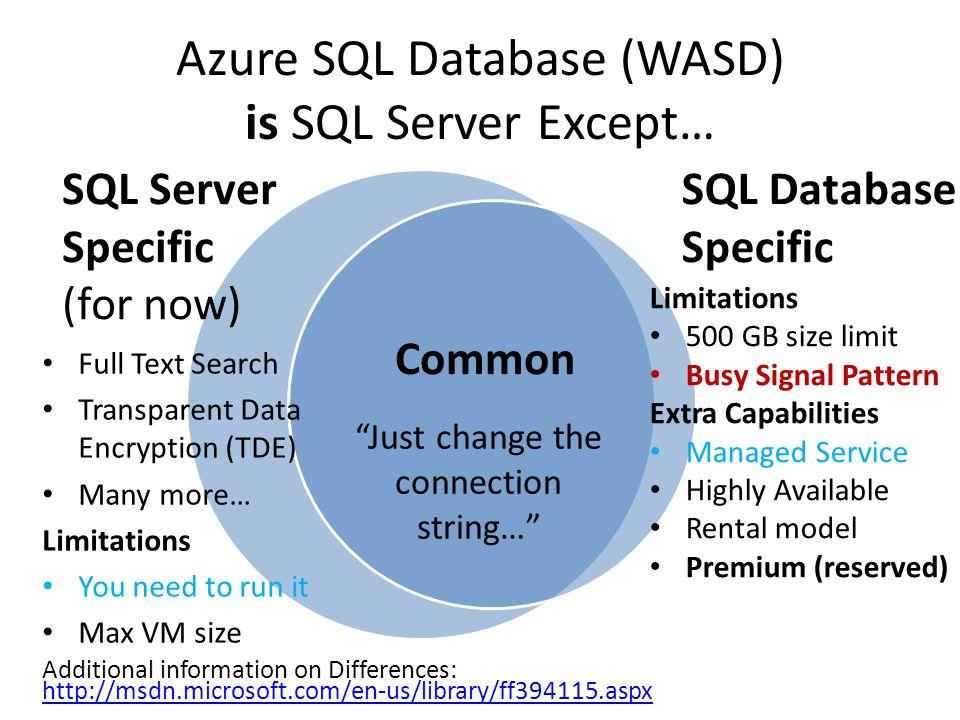 Azure SQL Database (WASD) is SQL Server Except…