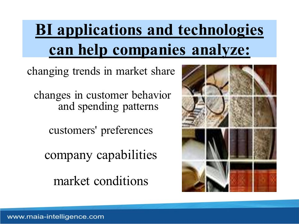 BI applications and technologies can help companies analyze: