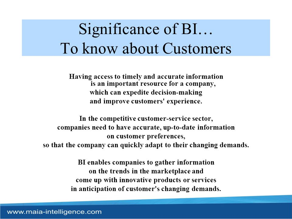 Significance of BI… To know about Customers