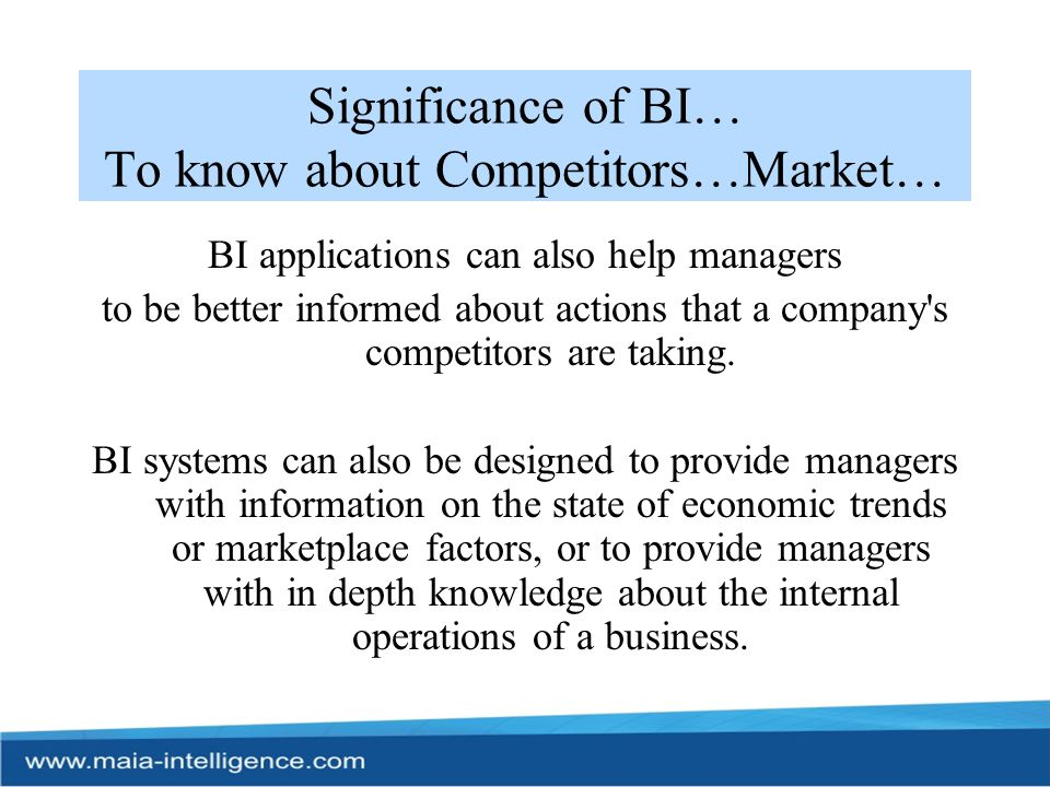 Significance of BI… To know about Competitors…Market…