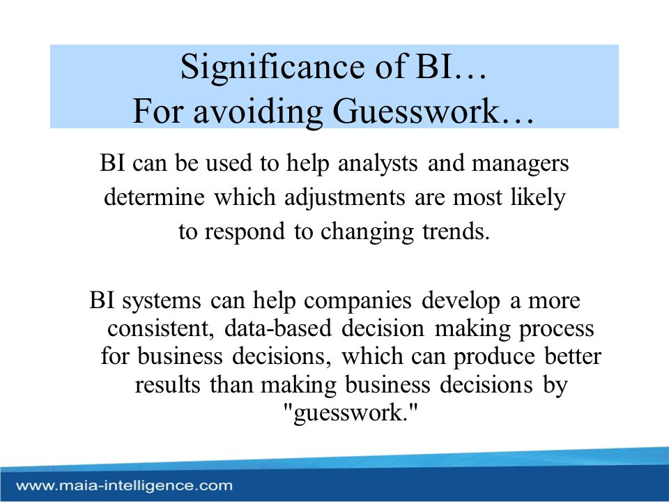 Significance of BI… For avoiding Guesswork…