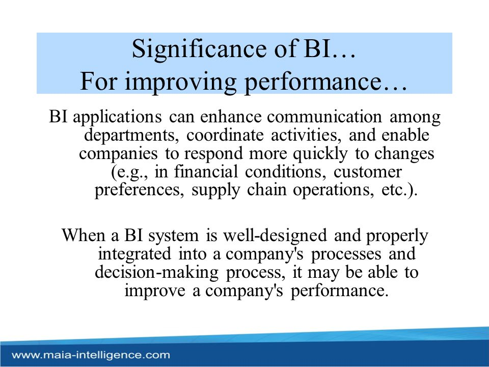 Significance of BI… For improving performance…