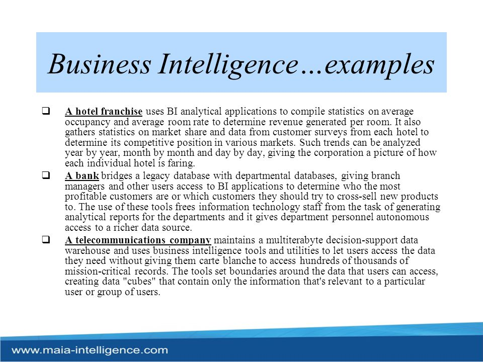 Business Intelligence…examples