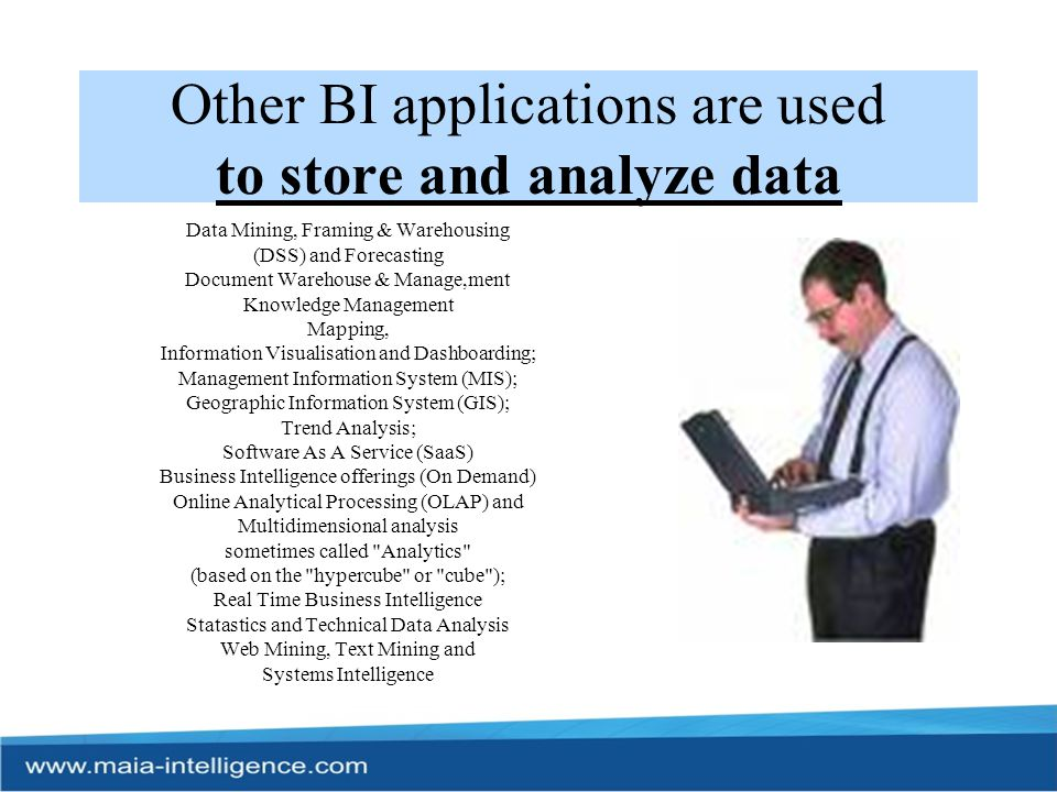 Other BI applications are used to store and analyze data