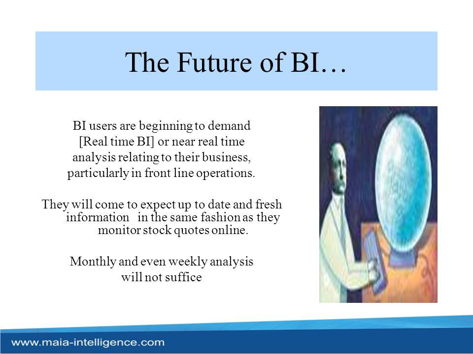 The Future of BI… BI users are beginning to demand