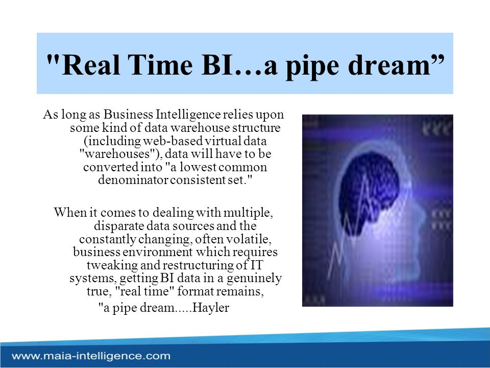 Real Time BI…a pipe dream