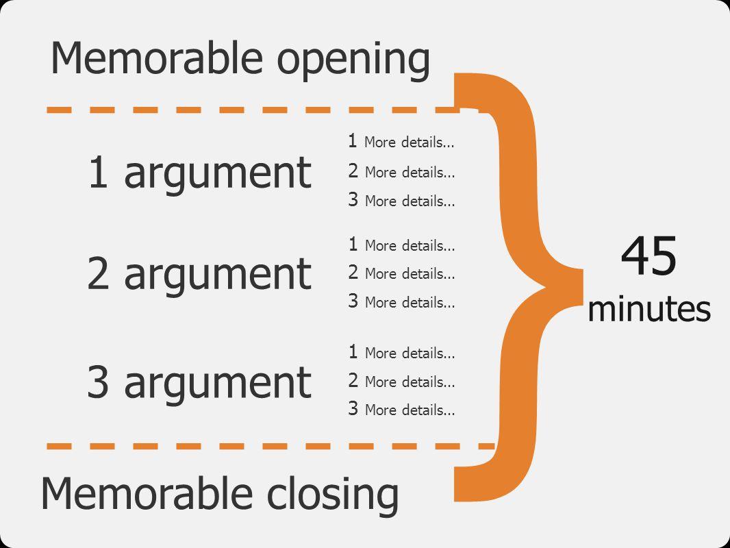 } 45 Memorable opening 1 argument 2 argument 3 argument