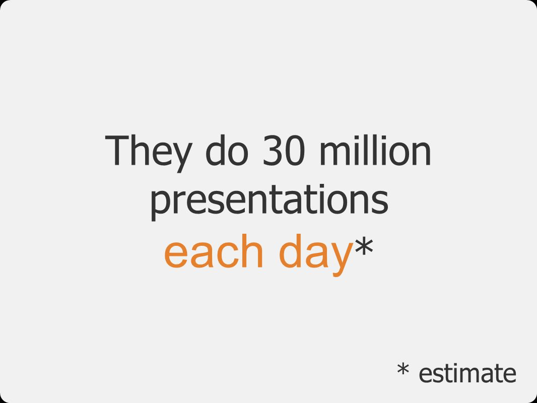 They do 30 million presentations each day*