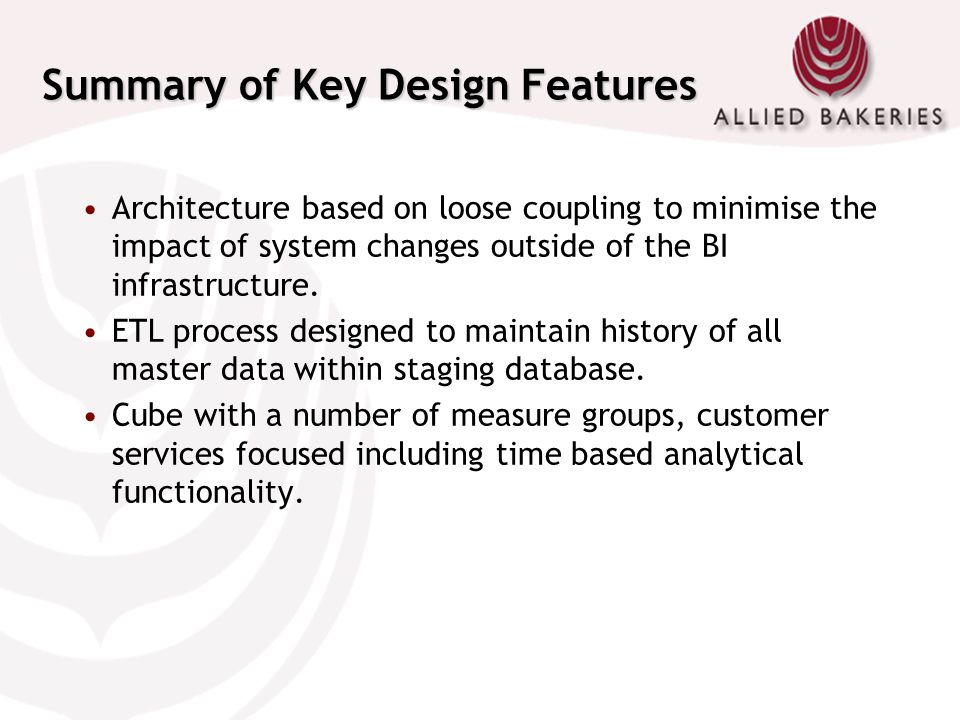 Summary of Key Design Features