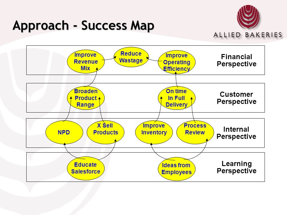 Approach - Success Map Financial Perspective Customer Perspective