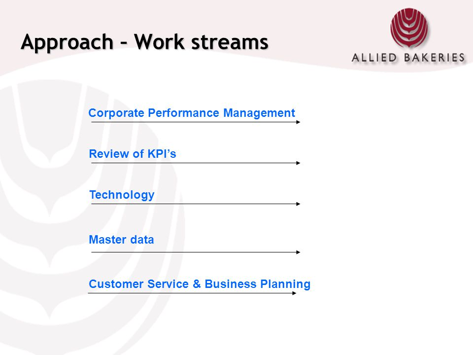 Approach – Work streams