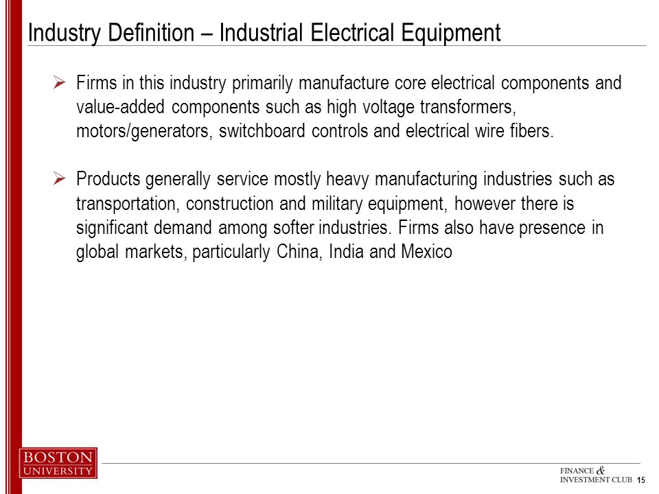 Industry Definition – Industrial Electrical Equipment