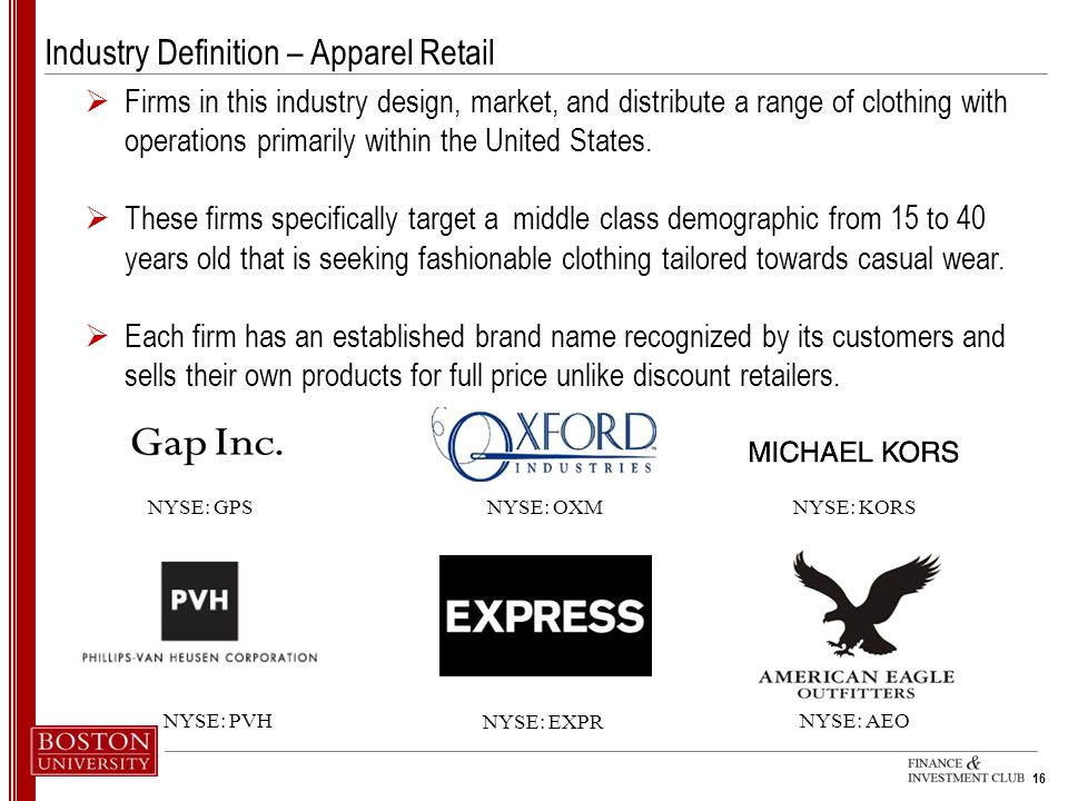 Industry Definition – Apparel Retail