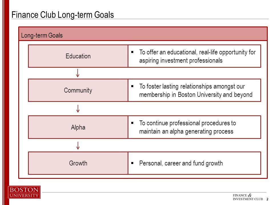 Finance Club Long-term Goals