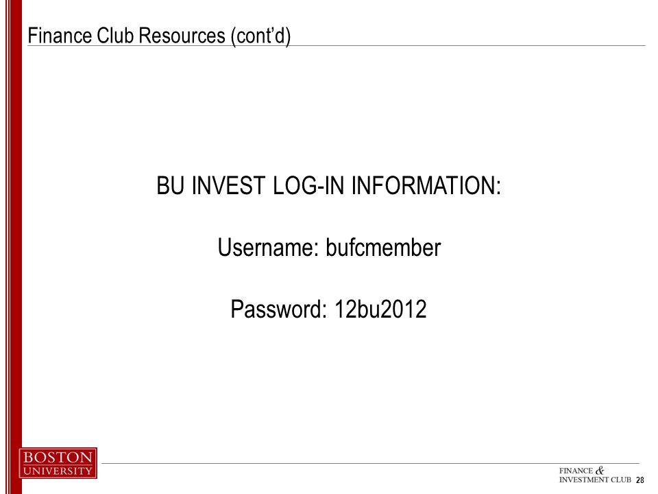 Finance Club Resources (cont'd)